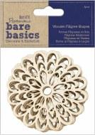 Papermania Bare Basics Wooden Filigree Shapes Flower (4pcs)