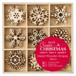 Wooden Shapes Mixed Snowflakes 45pk