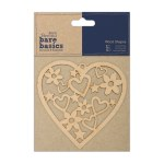 Papermania Wood Shapes Heart Bare Basics