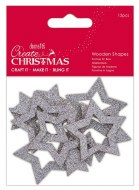 Wooden Shape Silver Star 12pk