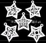 Chipboard Star Baubles 5pk