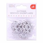 Wood Snowflakes Silver 8pk