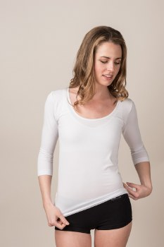 Boody Organic Bamboo Eco Wear Ladie's Scoop Neck Top -White Medium (UK Size 10-12)