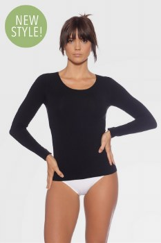 Boody Organic Bamboo Eco Wear Women's Long Sleeve Top Black Extra Small (UK Size 6-8)