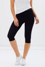 Boody Organic Bamboo Eco Wear Crop Leggings - Black Large (UK Size 12-14)