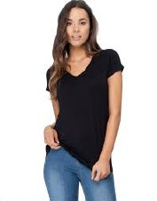 Boody Organic Bamboo Eco Wear Ladies V Neck Top - Black Large (UK Size 12-14)