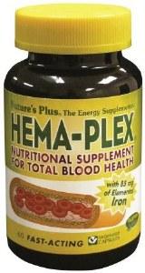 Nature's Plus Hema-Plex Nutritional Iron Supplement for Total Blood Health