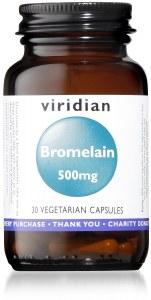 Viridian Bromelain Capsules 500mg - Bottle of 30