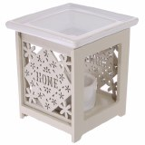Amour Natural Wooden Oil Burner with Ceramic Candle Base - 'Home' Design