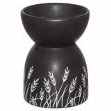 Amour Natural Ceramic Oil Burner in Black - Grass Design
