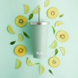 Cheeki Stainless Steel Vacuum Insulated Tumbler with Straw in Pistachio Green
