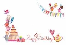 Card Happy Bday - Tea Party x50