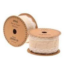 Ribbon Natural with White Lace (50mm)