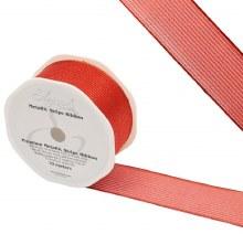 Ribbon Finesse Metallic Stripe 38mm Red