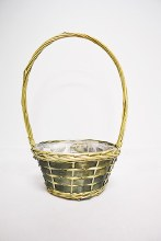 Grey lined round basket (46x25x14cm/Natural,Grey)