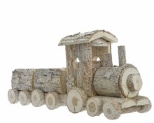 fir wood train with glitter