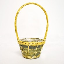 Grey lined round basket (35x14x10cm/Natural,Grey)