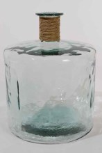 Recycled Glass Vase XL w Raffia