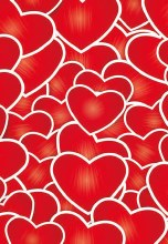 Card Folded Red Hearts (x25)