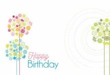 Card Happy Bday - Retro Flowers Swirl