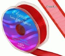 Ribbon Satin Edge Organza 25mm Red