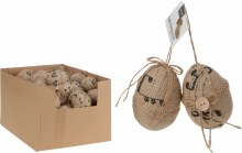Easter Eggs on Jute Twine Assorted (2x8cm)