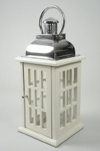 wooden lantern with stainless