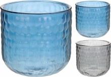 CANDLEHOLDER GLASS 2ASS CLRS