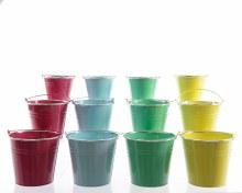 Zinc bucket (4 colours assorted)