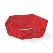 Red Tray Hexagon -Vassoio E. Lino Rosso(29x23x8.5)