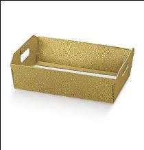 Gold Tray Leather -Cesto I. Pelle Oro (40x30x12cm)