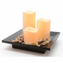 LED s3 candles with wood tray