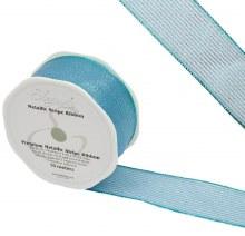 Ribbon Finesse Metallic Stripe 38mm Ice Blue