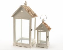 fir wood lantern w bark roof