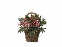 decorated basket berries snow