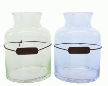gl vase w leather label 2colas