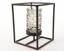 Iron tealightholder with grey glass