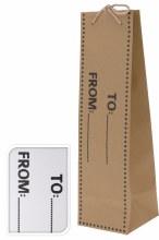Giftbag bottle (10x35cm/2 assorted/Brown,White)
