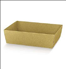 Gold Tray - Vassoio C Pelle Oro (50x40x11.5cm)