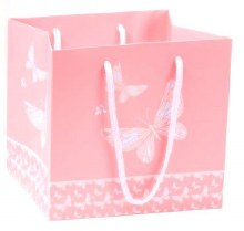 Hand Tied Bag Butterfly Pink (20x18cm)