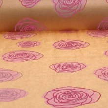Natural kraft paper with pink roses (50cm x 125m)