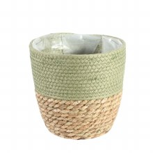 Basket Round Two Tone Seagrass and Green (19cm)