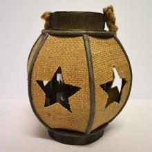 Wooden Lantern w.Jute 24cm