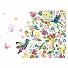 Folded Card Humming Bird Butterflies Flower x25