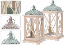 Lantern Wood Set Of 2Pcs 2Ass
