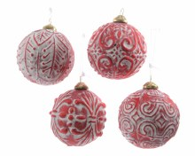 glass bauble white wash 4ass
