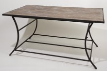 iron table w wooden surface