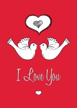 Card Folded I Love You - Love Doves (x25)