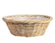 Basket Round Full Willow Natural (40.5cm)