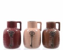 stoneware jar w key 3col ass
